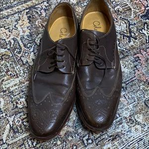 Cole Hahn Dark Brown Leather Wingtip Dress Shoes